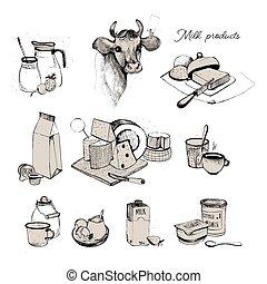 assortment., hintergrund., collection., produkte, landwirtschaft, hand, gezeichnet, weißes, satz, milchig, molkerei, abbildung