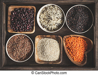 Assortment of a variety of delicious and healthy cereals