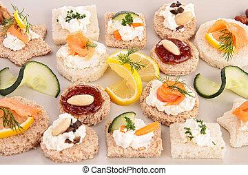 assortment of appetizer