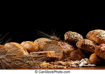 baked goods - Assortment of baked goods in black background