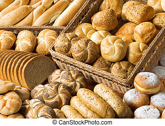 Assortment of baked products - Various types of bread and ...