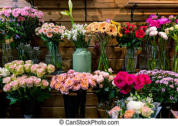 Assortment of beautiful flowers in shop. beautiful colorful flowers