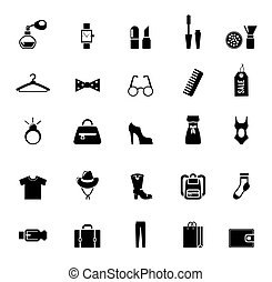 Assortment of Black Clothing and Accessory Icons on White...