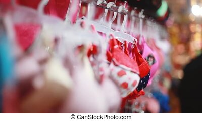 Assortment of bras in the store blurred background with...