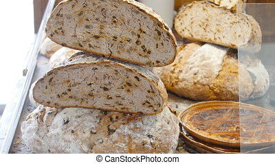 Assortment of bread in the shop. Bakery concept - Assortment...
