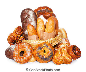Assortment of bread isolated on white