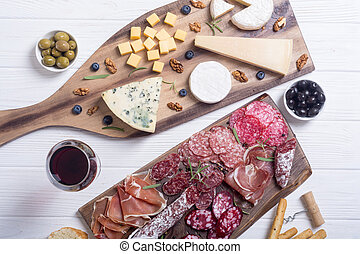 Assortment of cheese and sausages