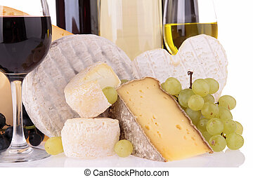 assortment of cheese and wine