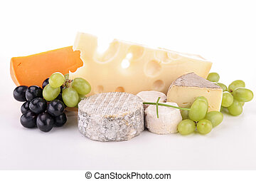 assortment of cheese isolated