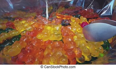 Assortment of chewing marmalade in a candy store