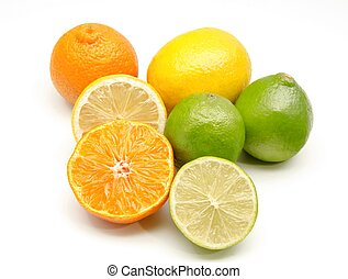 Assortment of citrus on white background