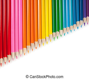 Assortment of color pencils isolated on white