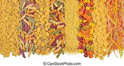 Assortment of colored uncooked italian pasta on a white