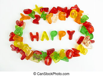 assortment of colorful candy letters