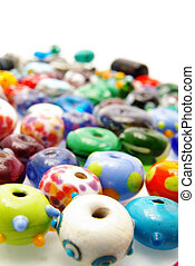 assortment of colorful glass beads