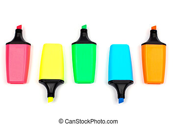 Assortment of coloured labellers with shadow on white ...
