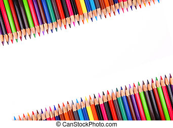 Assortment of coloured pencils with shadow on white...