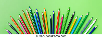 Assortment of colourful pencils. Back to school concept