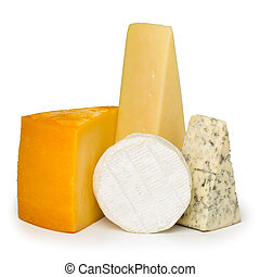 Assortment of different cheese types isolated on white background