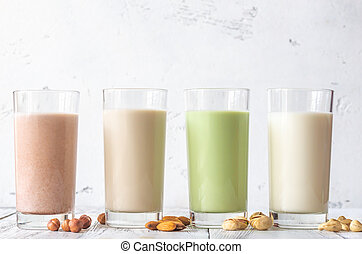 Assortment of different kinds of milk