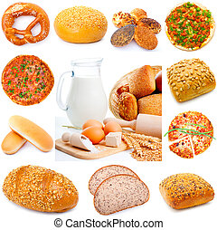 Assortment of different types of bread isolated on white background,