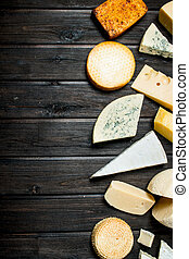 Assortment of different types of cheese.