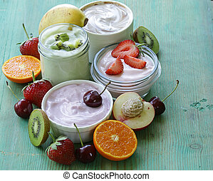 assortment of different yogurt