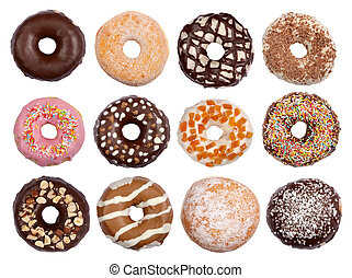 Assortment of donuts isolated on white background