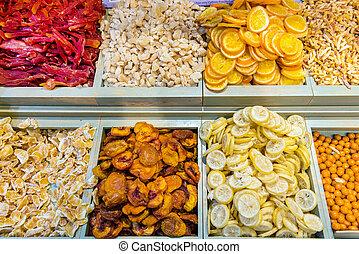 Assortment of dried fruits in Jerusalem market