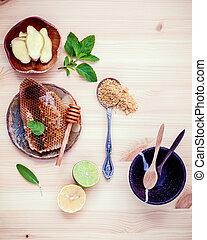 Assortment of dried herbs and fresh herbs tea