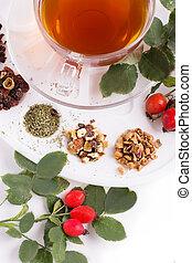 Assortment of dry tea in palette
