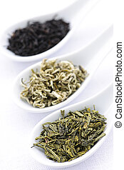Assortment of dry tea leaves in spoons