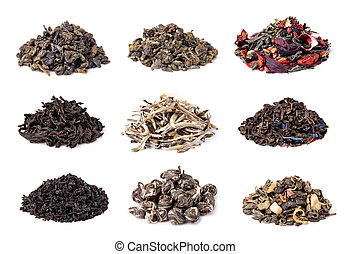 assortment of dry tea on white background