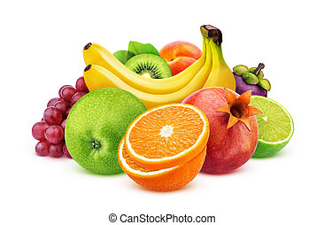 Assortment of exotic fruits isolated on white background with clipping path