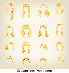 Assortment of female blond hair - Set of sixteen different...