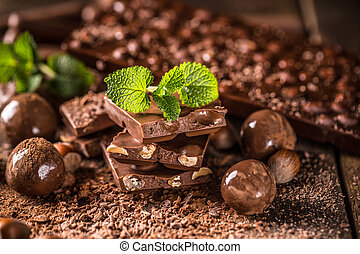 Assortment of fine chocolates: dark, and milk chocolate with...