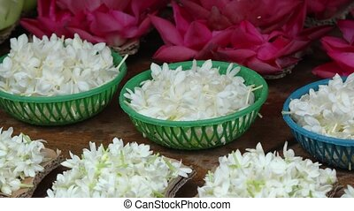 Assortment of Flowers for Sale at Hindu Temple. 1080p DCI...