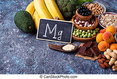 Assortment of food containing magnesium - Assortment of ...