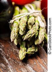 Assortment of fresh asparagus close up