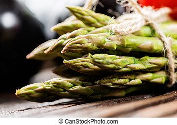 Assortment of fresh asparagus macro