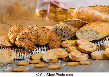 Assortment of fresh bread and bakery products