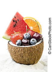 assortment of fresh fruit on the tropical beach