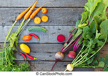 Assortment of fresh fruits, vegetables on table