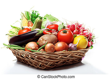 fresh Healthy Vegetables on a White Background.