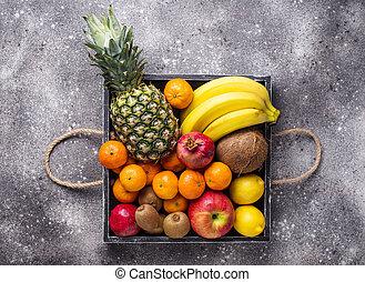 Assortment of fresh tropical fruits