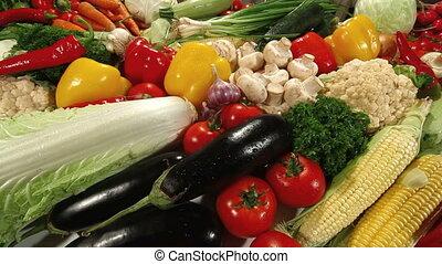 Assortment of Fresh Vegetable Tracking Shot