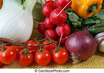 Assortment of fresh vegetables close up