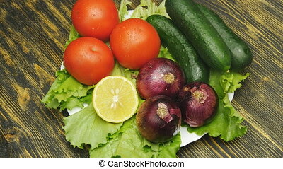 Assortment of fresh vegetables close up rotate