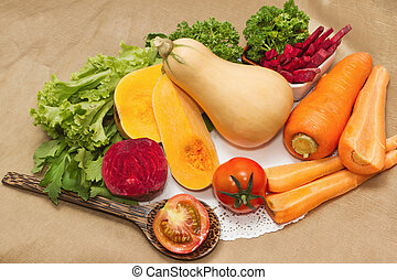 Assortment of fresh vegetables with Beetroot  salad