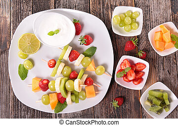 assortment of fruit and cream